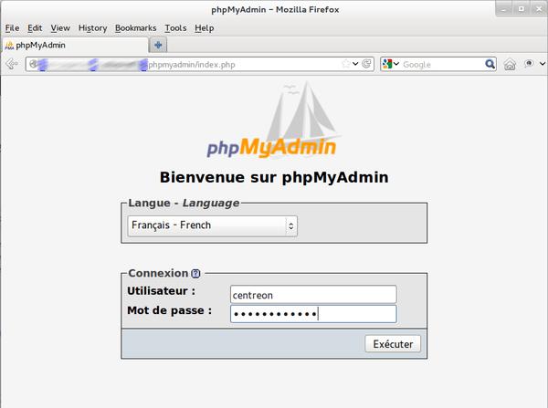 phpmyadmin centreon