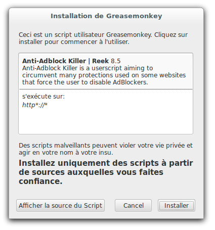 Anti Adblock Killer : Tueur de bloqueurs Adblock | memo-linux com