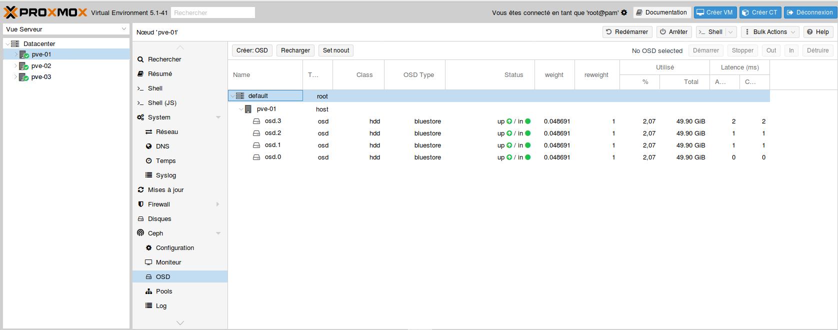 Proxmox 5 : mise en place d'un Cluster HA avec Ceph | memo